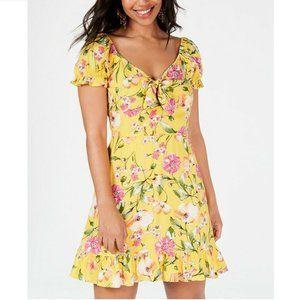 City Studio 9 Yellow Pink Tie Front Dress NWT L28